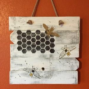 Rustic, handmade, bumblebee wall hanging