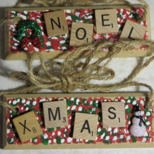 Set of 2 Scrabble® Game Tile Wooden Plaques Noel & Xmas