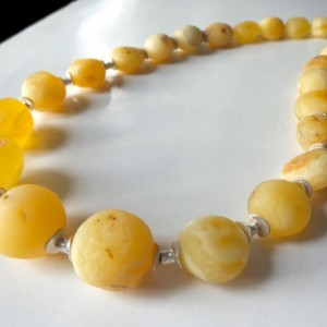 Baltic Amber Egg Yolk Butterscotch , Royal White , Sterling Silver Necklace .
