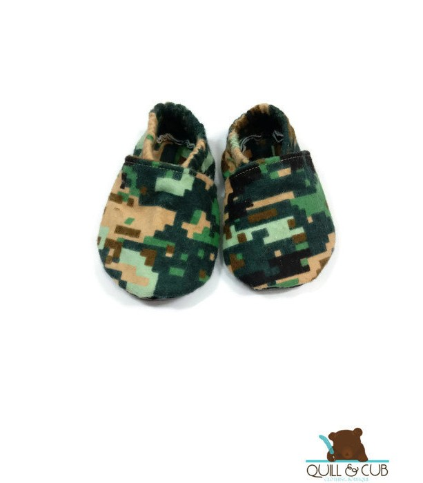 Camouflage Ankle Booties-Marine Camo- Baby Booties- Toddler Booties- Baby Shoes- Toddler Shoes- Soft Soled Shoes- Crib Shoes- Faux Leather