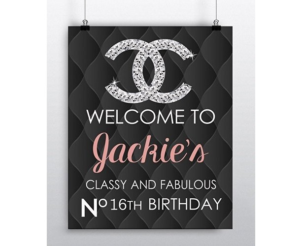 DIY Chanel Inspired Welcome Sign Poster 16x20 Birthday Black Leather Graphic