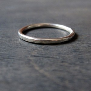 Sterling Silver Dapple Hammered Ring 1.5mm Handmade Forged Band - stacking ring