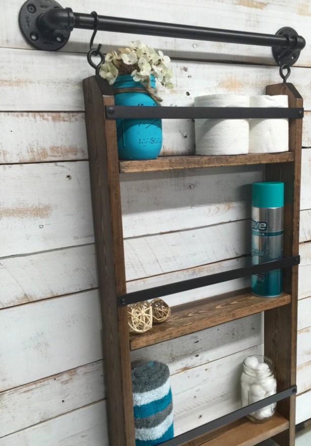 Farmhouse Bathroom Shelf Decor Shelving Rustic Wood Home