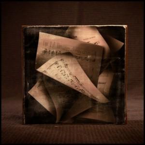 Vintage Sheet Music on Reclaimed Wood Block Print
