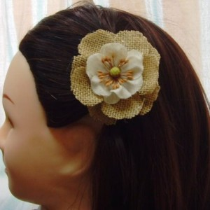 Natural Burlap Flower Hair Barrette w/accents - Rustic Country Shabby chick for Women
