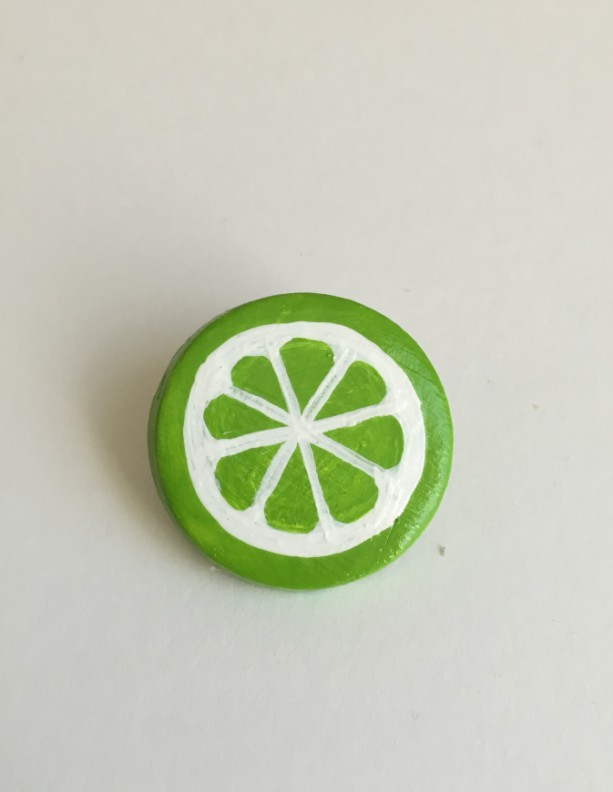 Handmade Brooch Lime Pin Clay Fruit Slice Artisan Jewelry Accessory