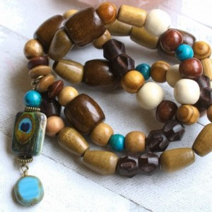 Turquoise, Blue and Wood Necklace, Earthy Tones, Peacock Pendant Necklace