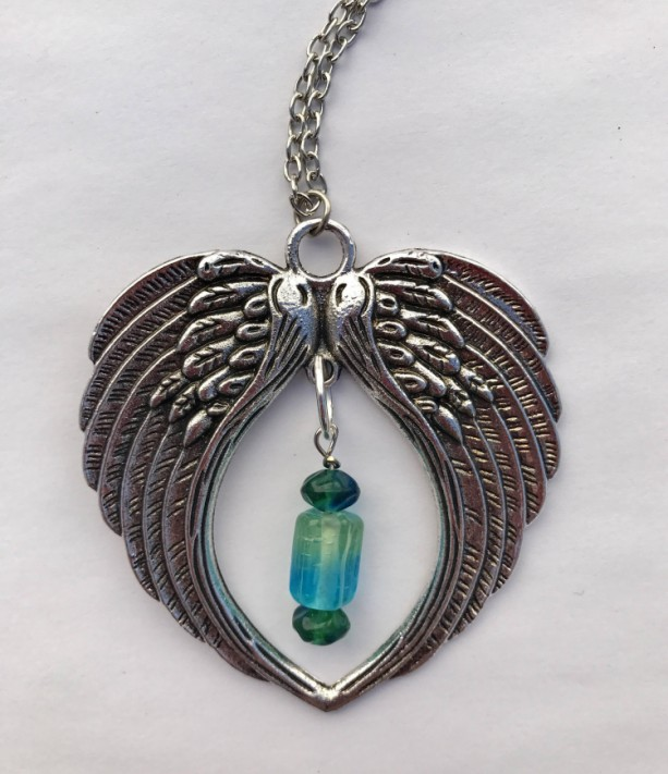Angel Wings Large Pendant Necklace, with Blue Green Glass Beads, Steampunk
