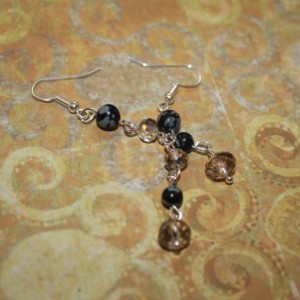 Round Snowflake Obsidian Silver Crystal Dangle Earrings