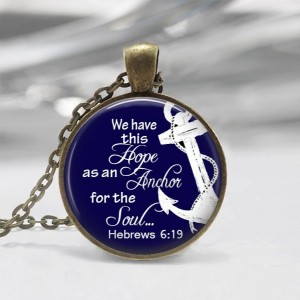 Anchor of Hope Glass Photo Necklace or Key Chain Religious Jewelry Christian Necklace Bible class Ladies Retreat Gift Nautical Hebrews 6:19