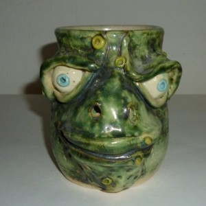 Handmade Clay Farting Frog Toad Coffee Mug Artist Judhe Jensen of Topeka Kansas