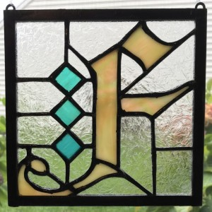 "6"" x 6"" Fraktur Monogram Stained Glass Hanging"