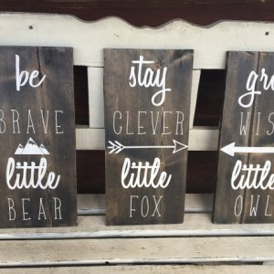 SET OF 3 - Woodland Nursery Decor - Nursery Wall Art - Woodland Nursery - Farmhouse Signs - Nursery Signs - Forest Animals -