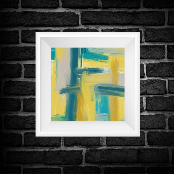 Teal Abstract Art Print - Square