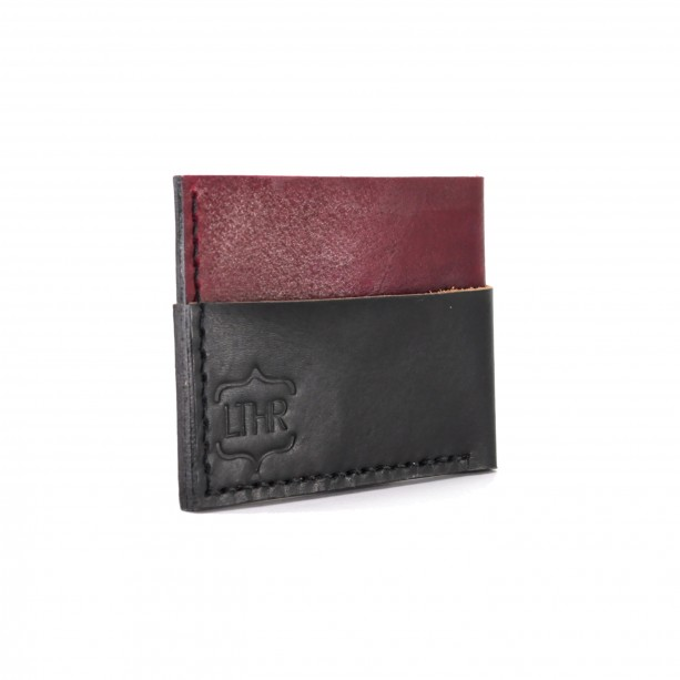 Leather Card and Cash Wallet in Red and Black