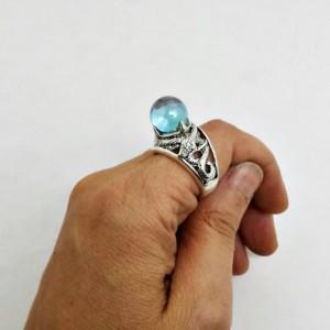 Serpent Aura Quartz Crystal Ball Scrying Ring