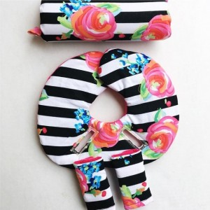Car Seat Head Support, Floral, Black and White Stripes,Hot Pink, Car Seat Strap Covers, Universal Car Seat Cover, Newborn Head Protector