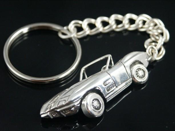 Corvette Sting  key chain sterling silver