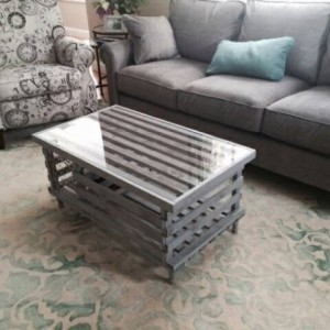 Handmade Wooden Lobster Trap Coffee Table, Weathered Grey Finish