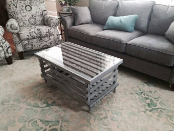 Handmade Wooden Lobster Trap Coffee Table Weathered Grey Finish
