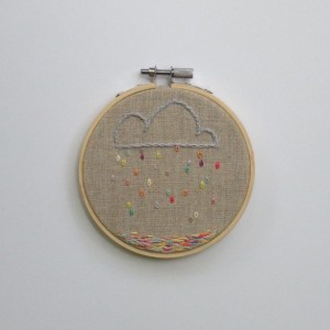 Rainbow Cloud and Rain Embroidery Hoop 4inch Embroidery Hoop Clouds and Rain Hoop Art Under 25 Gift Children's Room Art Embroidery Hoop Art