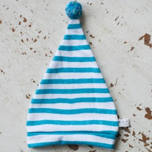 0-3 mo Elf - Hobbit - Gnome - Dwarf Hat with PomPom Tail. Newborn hat in turquoise and white striped cotton fabric.