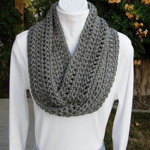 Gray Cowl SCARF Infinity Loop Solid Heather Medium Grey, COLOR OPTIONS Soft Acrylic Lightweight Crochet Knit Skinny Narrow Circle, Ready to Ship in 3 Days