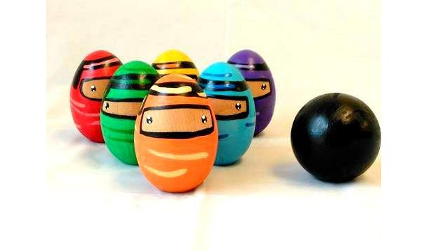 Ninja Toys For Boys : Non toxic wooden ninja bowling set aftcra
