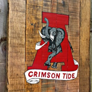 Rustic Handmade Hand Painted Art Unversity of Alabama Recalimed Wooden Pallet Sign Crimson Tide