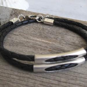 Men Bracelet - Men Tube Bracelet - Men Leather Bracelet - Men Jewelry - Men Gift - Boyfriend Gift - Husband Gift - Present For Men - Male