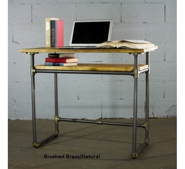 """Industrial Mid-Century Writing Desk 36"""" long x 20"""" deep x 31"""" tall, Metal Pipes and Reclaimed/Aged Wood Finish"""