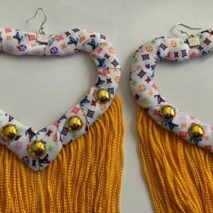 Vuitton print tassel earrings