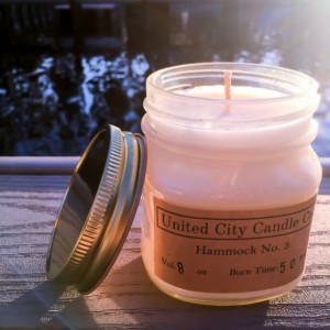 Hammock No. 5 --Relaxing tropical breeze and refreshing coconut water with a hint of lime.100% soy candle. United City Candle Co.Made in USA
