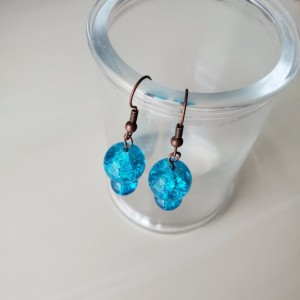 Handmade Crackle Glass Purple, Blue Dangle Drop Earrings