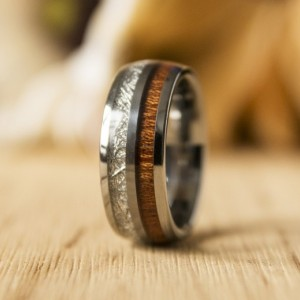 8mm Mens Koa Wood Inlay Tungsten Carbine Wedding Bands