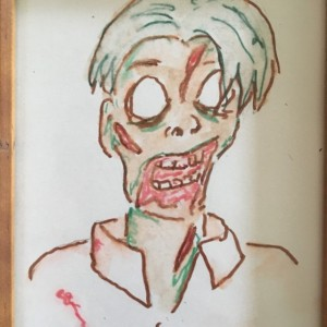 Framed original Zombie Jon Portrait in watercolor and Marker