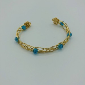 Gold and Crystal Celtic Weave Cuff Bracelet