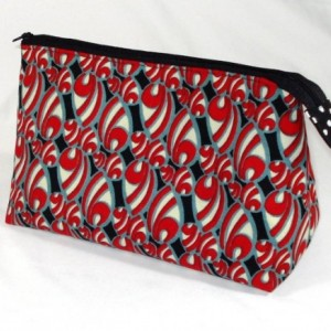 Waxed Cotton African Abstract Fabric Cosmetic Bag, Bridesmaid Gift, Holiday Gift, Toiletry Bag, Pencil Case, Travel Bag