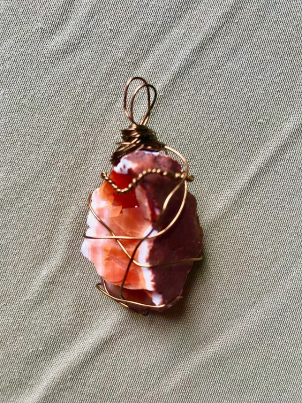 CARNELIAN AGATE wrapped in Brass Wire Necklace (with choice of strand color)