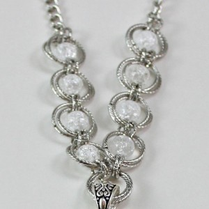 Large Silver Cross and Beaded Spiral Chainmaille Necklace
