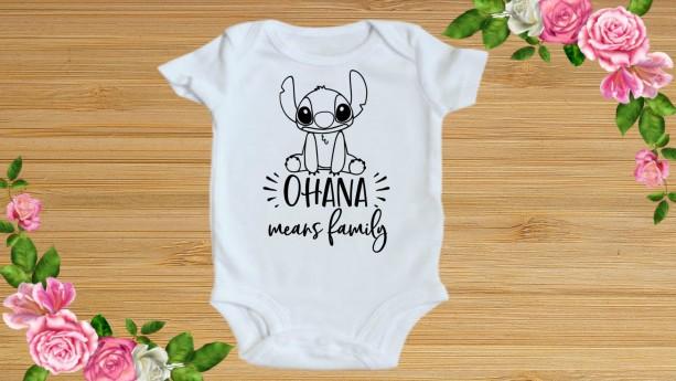 Stitch Ohana inspired Onesie bodysuit newborn 0-3m, 3-6m, 6-9m, 12 m, 18m 24m / Toddler 2t 3t 4t 5t
