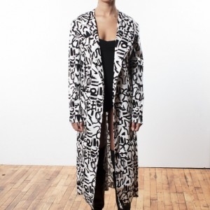 Womens Black & White Print Long Coat