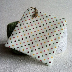 Poka dot square zipper pouch with beaded  pull