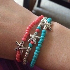 Teal and coral starfish bracelet