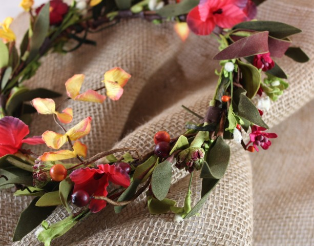 Red & Orange Fall Floral Halo