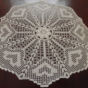 "Lovely Real Handmade Tablecloth Doily ""Hearts"", Round, Ecru, 33"", 100% Cotton, FREE shipping USA"