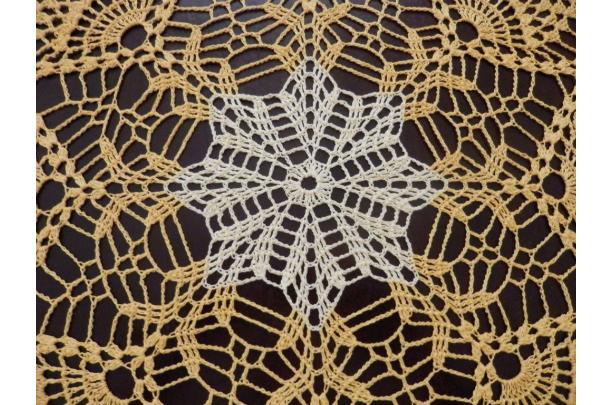 Stunner Real Handmade Crochet Tablecloth Doilyyellow Round 34