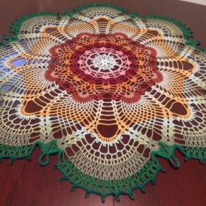 "Stunning Handmade Crochet Tablecloth Doily, 36"", ""Rainbow Peacock Tail"", Cotton 100%, FREE shipping"