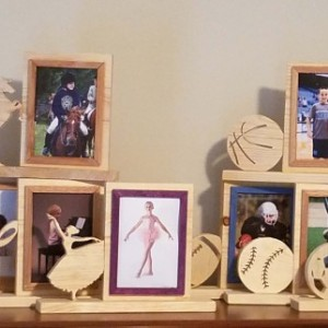 Personalized  5 x 7 Picture Frame with Carved Baseball, Customized Baseball Photo Frame