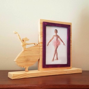 Personalized 4 x 6 Picture Frame with Carved Ballet, Customized Ballet Photo Frame
